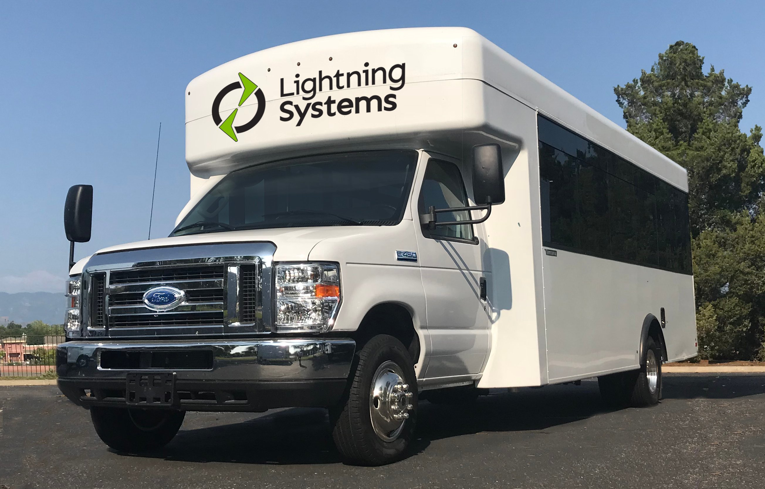 Lightning Systems debus all-electric bus, cutaways on Ford E450 chassis