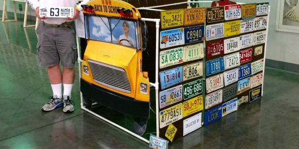 Retired pupil transporter Louk Markham has amassed school bus plates from across the U.S. as...