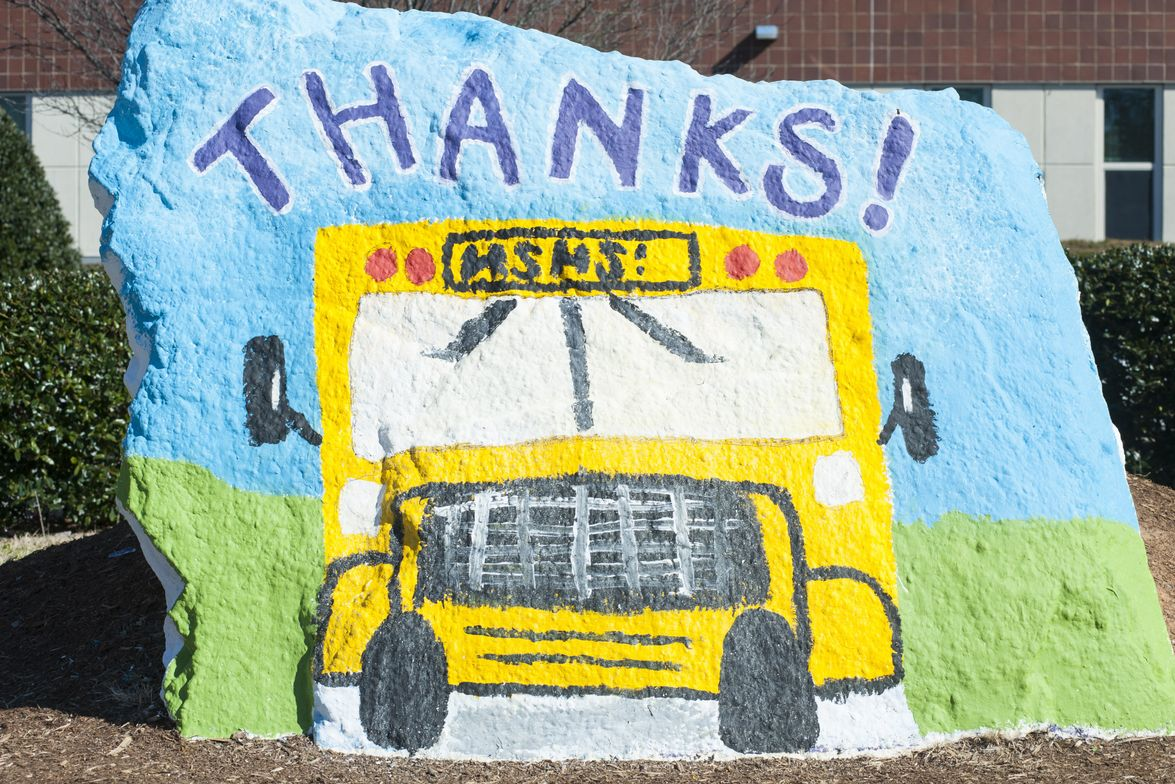 Students at Holly Springs (N.C.) High School painted their school's rock for School Bus Driver...