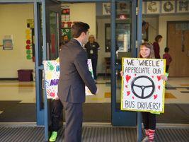 North Carolina State Superintendent Mark Johnson joined the celebration of student transporters...