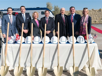 The plant's ground breaking ceremony was celebrated on October 13 by Peter Spuhler, Group CEO and owner of Stadler, and Martin Ritter, CEO of Stadler US, along with Senator Orrin Hatch, Utah Governor Gary Herbert, Salt Lake City Mayor Jackie Biskupski and other guests from the worlds of politics and business. Photo: Stadler