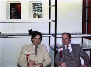 Greg Smith, left, and Chuck Slaybaugh, right, pictured at the 1982 ARA Show, worked together at MTD for three years.