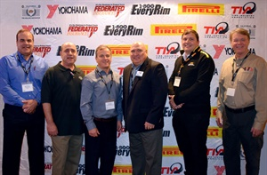 Among the 76 people attending the California Tire Dealers Association/1-800EveryRim New Year Luncheon were, from left to right: Matt Burrows (Yokohama), host Billy Eordekian, CTDA President Chris Barry (ITDG), TIA President Tom Formanek (Stellar Industries), Gianlucca Grioni (Pirelli) and SEMA WTC Chairman Joe Findeis (The Plus Sizing Guide).