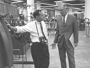 Chuck Slaybaugh, left, considered Ernie Zielasko, right, his mentor. Slaybaugh took over as editor of MTD when Zielasko left in 1971. He eventually was promoted to editorial director.