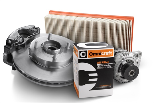 Initial offerings of Ford's new Omnicraft brand parts include oil filters, brake pads and rotors, brake calipers, loaded struts, and starters and alternators.