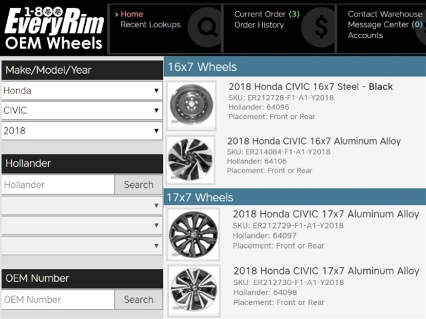 Search results are clearly displayed with images and descriptions of wheels on1-800EveryRim's new website.