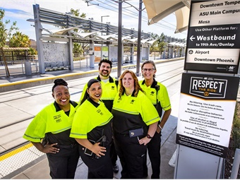 Valley Metro's newest addition to the Respect the Ride program — introducing Customer Experience Coordinators (from left): Christel, Christina, Kyle, Dawn, and Dave.
