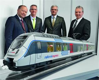 (From left) Tobias Richter, managing director, National Express Rail GmbH; Volker Kregelin, VP, business development, Bombardier Transportation; Norbert Hübner, sales manager, Bombardier Transportation; Wolfgang Schuster, GM, National Express Rail GmbH.