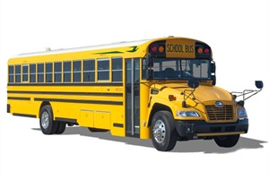 Officials for Blue Bird say propane autogas' natural properties keep the fuel in a constant liquid form, free from freezing or gelling. Pictured is Blue Bird's propane Vision school bus.