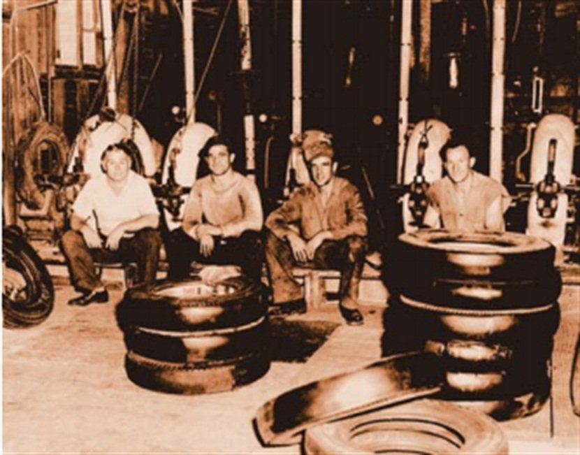 """Jack Williams Tire Co. was opened in 1929 by Jack Williams Sr. (far left). """"Every penny my father earned went back into the business,"""" says Bill Williams."""