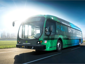 The new electric buses will integrate batteries that are designed and manufactured down the street from the airport at Proterra's Silicon Valley headquarters in Burlingame, California. Proterra