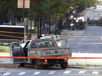 A Transportation Security Administration memo provides information about vehicle ramming incidents. Seen here is the truck used in an attack in New York City in October. Photo by Gh9449 via Wikimedia Commons