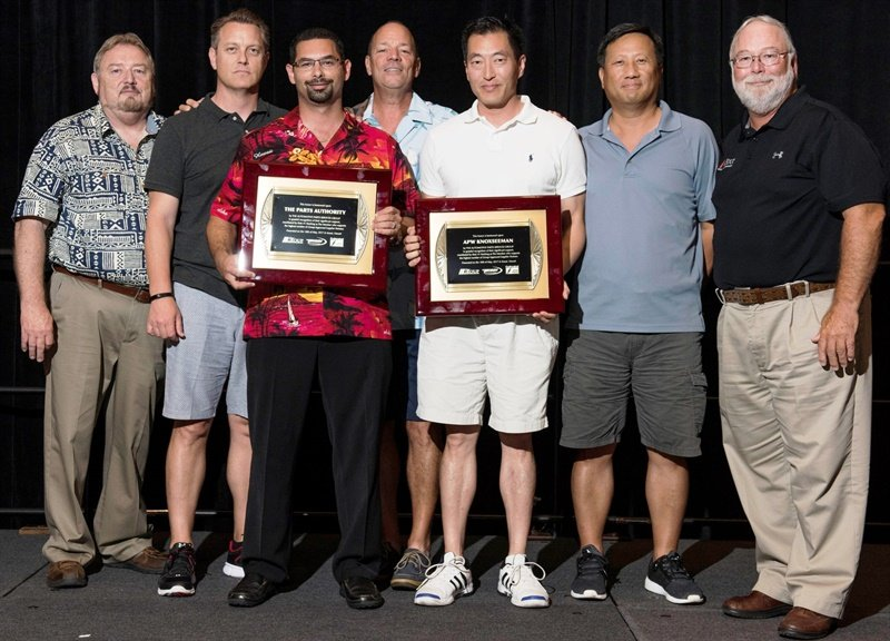 Executives of The Group are pictured with top vendor award recipients (from left): Rusty Bishop from Federated; Jason Pugh, Eric Schwartz and Jeff Beiser from Parts Authority; Young Suhr and Charles Yu from APW Knox-Seeman; and Bill Maggs from Pronto.