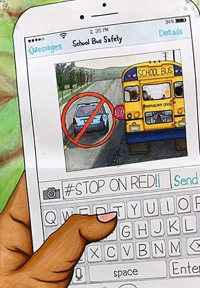 "Branden Pagurayan's winning poster contest entry illustrates this year's National School Bus Safety Week theme: ""#Stop on Red."""