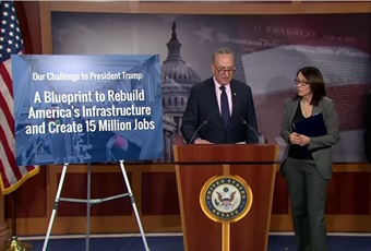 Senate Democrats held a press conference on January 24, 2017 to unveil a major infrastructure proposal, which includes a historic $1 trillion investment and would create more than 15 million jobs over the next 10 years. Screenshot via YouTube