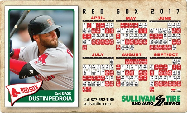 Red Sox second baseman Dustin Pedroia is featured on this year's Red Sox schedule magnet from Sullivan Tire.