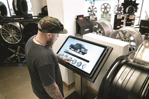 Interactive kiosks such as this one at Wheel Warehouse allow a customer to view products at his or her own pace, which will allow for seamless transaction to the salesperson.