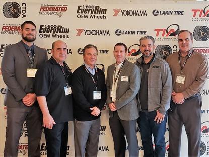 (from left): Ben Wysocki, Federated; Billy Eordekian, 1-800EveryRim; Chris Barry, ITDG; Brian Rigney, TIA; Allan Keefe, SEMA; and Matt Burrows, Yokohama.