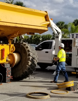 To highlight its OTR technician training program, TIA shot a live training demonstration that was being done on an articulating dump truck with a 29.5R25 tire being replaced on a five-piece rim.