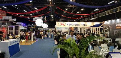 Show officials say this year's Latin Tyre Expo had 182 exhibitors and roughly 2,500 visitors from 64 countries. (Inset)