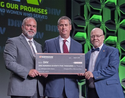 Hankook marked its 2019 commitment to DAV and helping veterans through mobility with a $175,000 donation. Senior Director of TBR Tires Rob Williams presented the check to DAV National Adjutant and CEO Marc Burgess and National Commander Dennis Nixon at the DAV's 98th National Convention on Aug. 3.