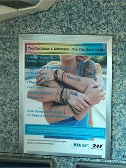 Sample suicide awareness/prevention poster being placed on SFRTA trains.