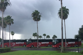 Established in 1924, DATTCO is a third-generation family-owned business headquartered in New Britain, Conn. The company has taken delivery of seven new 2018 Van Hool CX series motor coaches from ABC Companies. Photo courtesy of DATTCO.