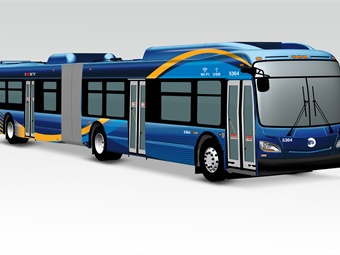 The new MTA buses will feature amenities such as Wi-Fi, digital screens, and USB charging ports. Rendering courtesy of NY MTA.