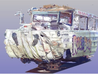 Linked 3D laser scans depicting frontal damage on the accident DUKW vehicle. Courtesy NTSB