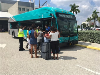 At the Port of Palm Beach, Palm Tran buses helped provide transportation for Bahamas evacuees to Tri-Rail, Palm Beach International Airport and local rental car agencies. Palm Tran