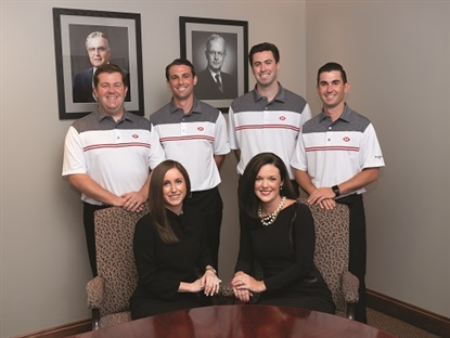 "The fourth generation of McCarthys holds leadership positions within the company. Back row, from left: Gary Lambert Jr., Daniel Horn, John McCarthy III and Tim Lambert. From row: Mary Kate Henry and Colleen Doyle. Doyle says, ""All the other cousins seemed to have this energy about growing the business and about moving forward. It was too much energy to resist."" (Photo by Michael Touey, Halibut Blue LLC)"