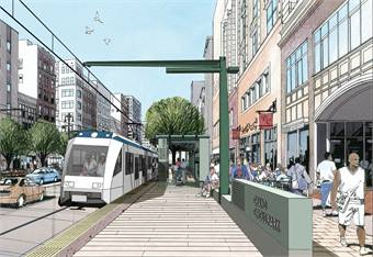 A rendering of Detroit's M-1 Rail streetcar.