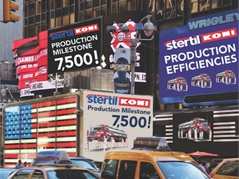 Stertil-Koni's milestone signs in New York's Times Square.