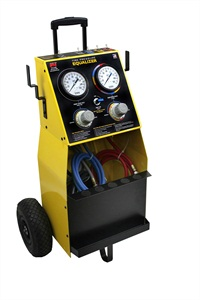 The Mobile Tire Pressure Equalizer is mounted on a welded steel cart with pneumatic tires and features wheel-specific, color-coded hoses with corresponding panel indicators and hose hangers.
