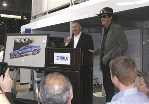 Champion NASCAR driver Richard Petty (right) and Ted Hughes, marketing manager for Mahle Aftermarket, announce Mahle's Drive with the Original contest.