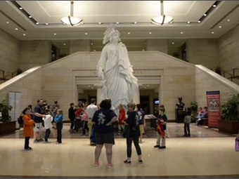 The majestic Capitol Visitors Center served as the backdrop and launching point for ABA's successful fly-in event during National Travel & Tourism Week.