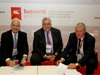 Left to right: Peter Pantuso, President & CEO of American Bus Association; Don DeVivo, ABA Chairman of the Board and President of DATTCO; and Busworld Academy Director Jan Deman.