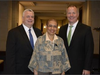 Don Devivo, ABA Vice Chairman; Congresswoman Eleanor Holmes Norton; John Meier, ABA Chairman