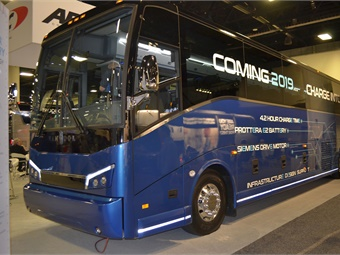 ABC announced that the electric version of Van Hool's CX45, in conjunction with Proterra's battery technology, will debut in the fourth quarter of 2019.
