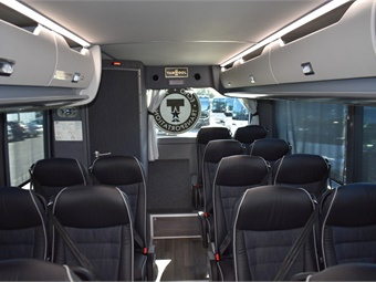 Several of the coaches feature chrome mirrors, side view cameras, and three models are fully-ADA compliant with Braun wheelchair lifts.