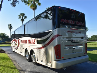 The new 56-passenger Van Hool CX45 is powered by a Detroit Diesel engine and features a custom paint and graphics package produced by ABC. ABC Companies