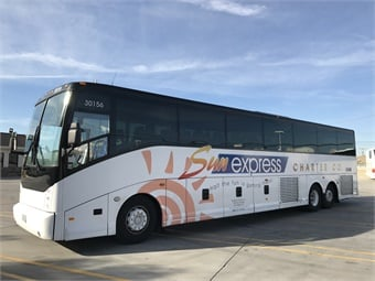 The 56 passenger ADA-compliant coaches are powered by Cummins ISX engines coupled to Allison B500 Gen4 transmission and boast Grande Lux seating, woodgrain flooring, REI Elite entertainment systems, Wi-Fi, and 110 volt outlets, as well as Van Hool's unique rear passenger window.