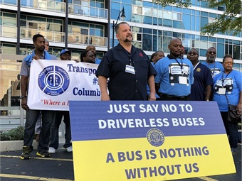 The TWU Autonomous Bus Fight Back Campaign attends the Ohio AFL-CIO Convention in Columbus to launch the national coalition to protest against driverless buses. Photo: Transport Workers