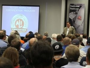 "ALI President R.W. ""Bob"" O'Gorman speaks at the launch of the organization's Lift Inspector Certification Program."