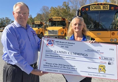 Steve Barker, sales manager for AMF-Bruns (shown left), presented the first AMF-Bruns National Special-Needs School Bus Driver Of The Year Award to Tammy Cummings, a bus driver and safety trainer for Greenville County (S.C.) Schools.