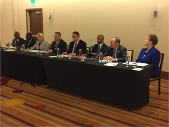 Key leaders in attendance for the press conference included: (shown L to R) Phillip A. Washington (L.A. Metro); Curtis Stitt (COTA); Jeannie Bruins (VTA); Doran Barnes (Foothill Transit); Richard A. White (APTA); Keith Parker (MARTA); Peter Rogoff (Sound Transit) and Grace Crunican (BART).