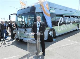 New Flyer's Paul Smith announced the company's new partnership with Alexander Dennis.