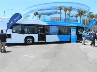 The Nova LFS Smart Bus and the Long Beach Arena.