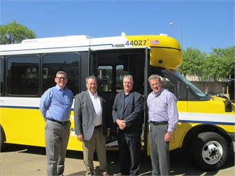 Pictured Left to Right:R.K. (Rocky) Rogers, Assistant Vice President of Technical Services - Dallas Area Rapid TransitDon Roberts, President & CEO - ARBOC Specialty Vehicles LLCRyan Frost, General Manager - Creative Bus Sales in TexasMichael C. Hubbell, Vice President of Maintenance - Dallas Dart