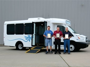 From left to right, the Spirit of Independence inventors: Kelvin Tetzloff, research and development technician; Don Roberts, president; and Barry Hines, VP, engineering. ARBOC Specialty Vehicles LLC